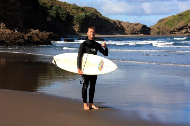 Neuseeland Piha Beach Selfie 2